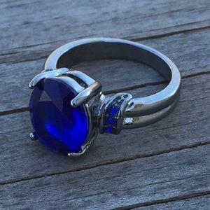 Blue Sapphire CZ Black Gold Fashion ring